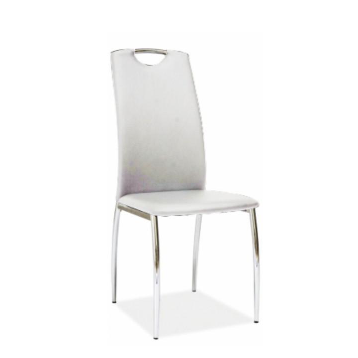Židle, ekokůže bílá / chrom, ERVINA
