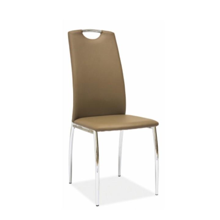 Židle, ekokůže béžová / chrom, ERVINA