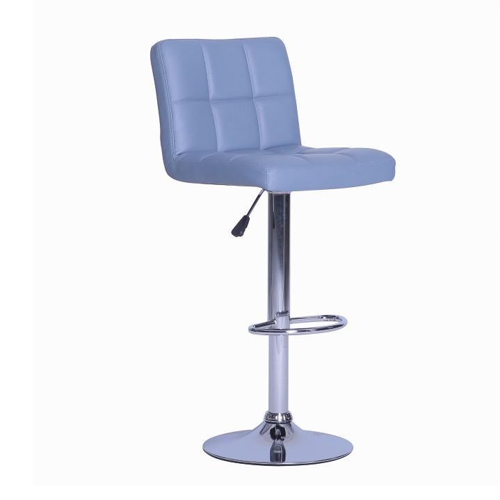 Barová židle, ekokůže šedá / chrom, KANDY