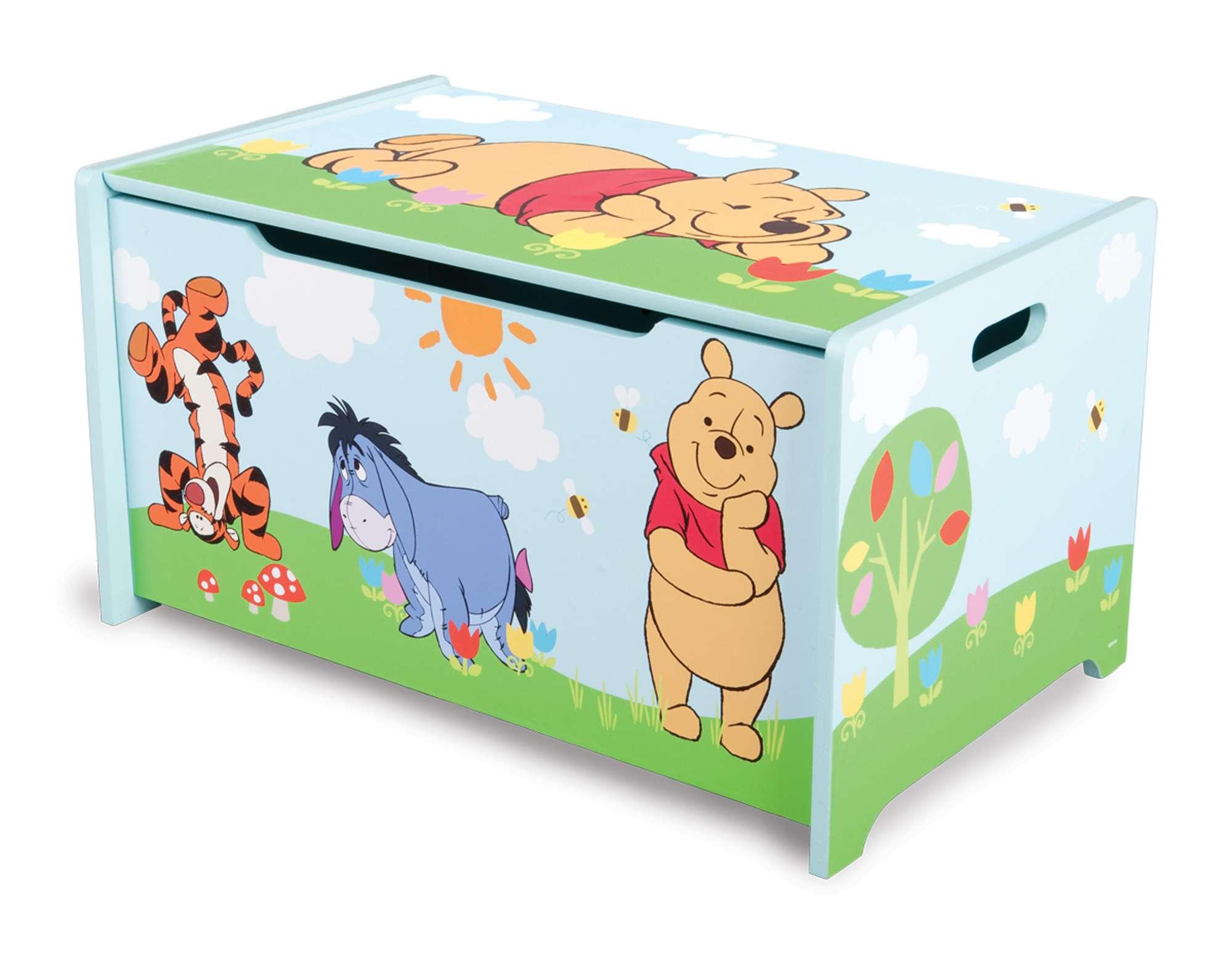 Dětská dřevěná truhla na hračky Medvídek Pú