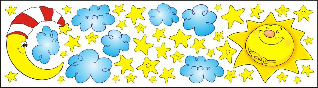 Nálepky na okno - slunce měsíc hvězdy - 0,3 m2