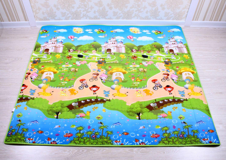 Dětský pěnový koberec - pohádkové městečko + domek lva
