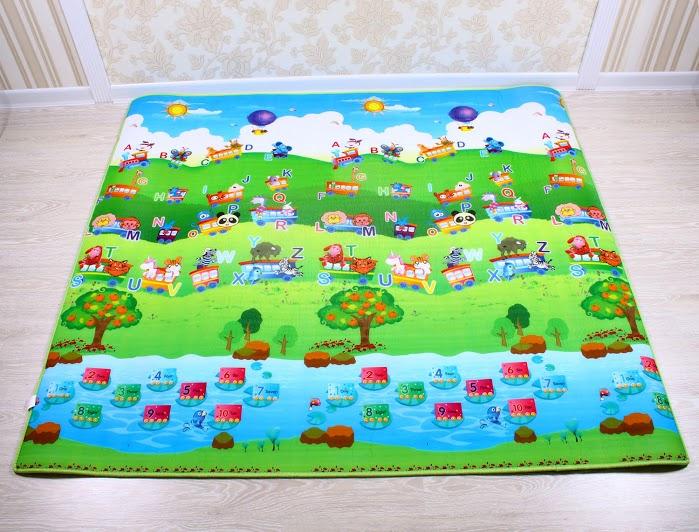 Dětský pěnový koberec - vlak + domek lva