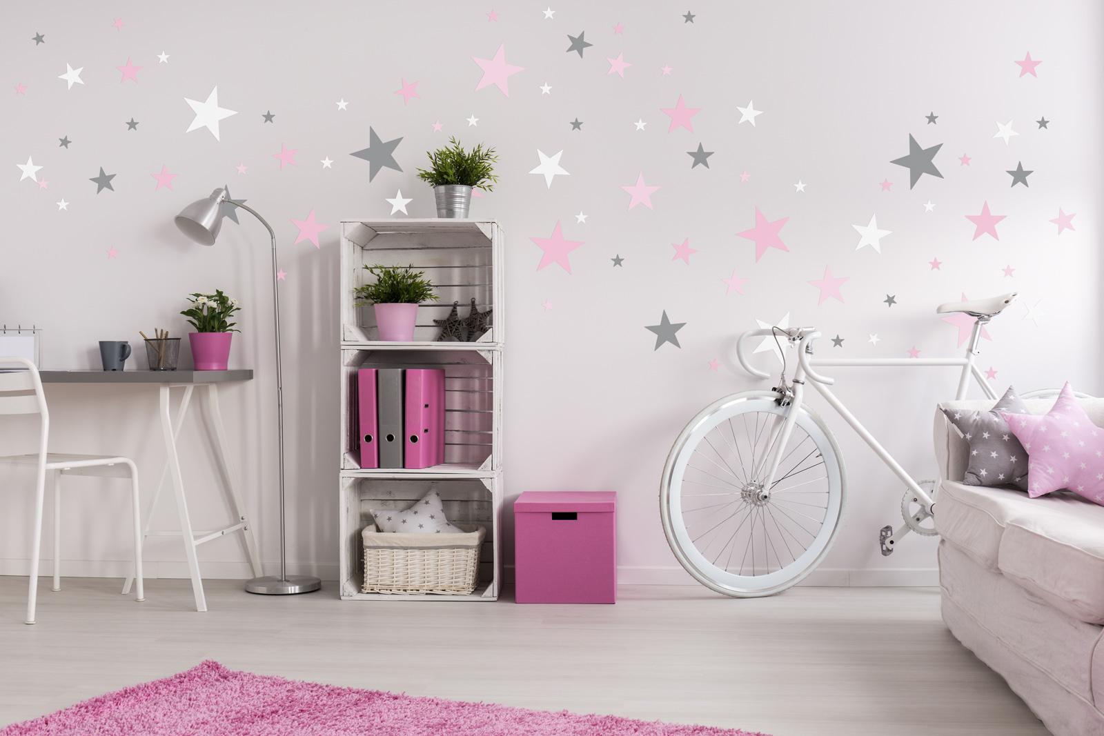 Dekorace na zeď - hvězdičky šedá/růžová