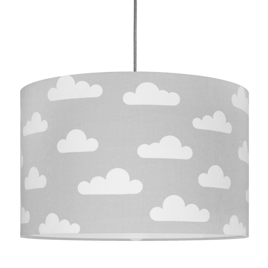 Textilní závěsná lampa Obláčky - šedá
