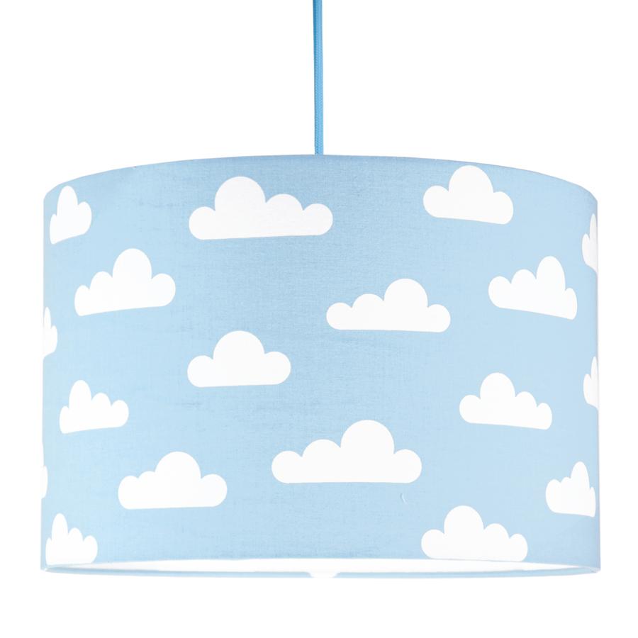 Textilní závěsná lampa Obláčky - modrá