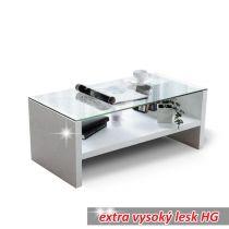 Konferenční stolek, sklo/bílá extra vysoký lesk HG, TIBER